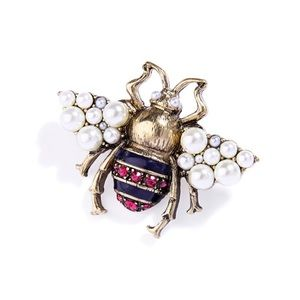 Faux Pearl crystal Bee Pin Brooch